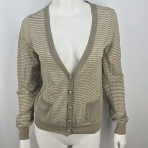 J.Crew Cardigan Sweater Linen Blend Taupe/Ivory